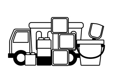 kids toys truck bucket cubes vector illustration