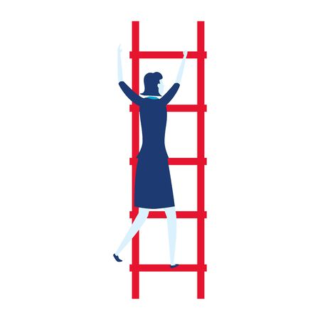 businesswoman ladders creativity business success vector illustration Фото со стока - 129833794
