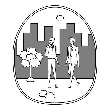 elegant young businessmen using smartphone on the city vector illustration design