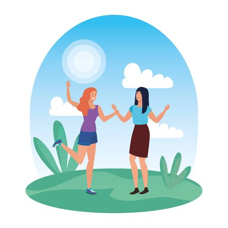young girls friends celebrating in the park vector illustration design Stockfoto - 129262408