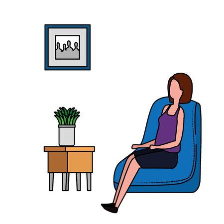 woman in living room place scene vector illustration design