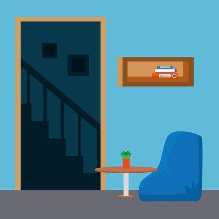 home living room place scene vector illustration design Standard-Bild - 129262410