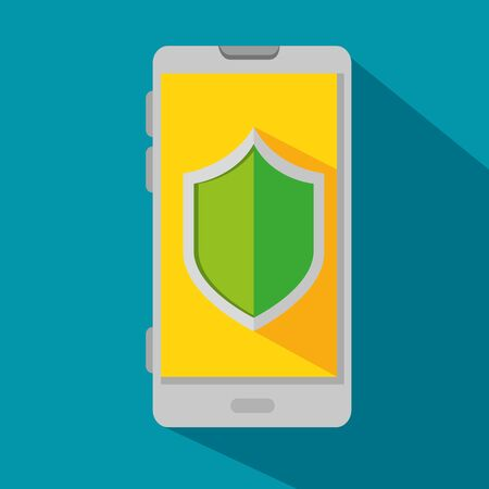 smartphone technology with protection shield security over blue background vector illustration