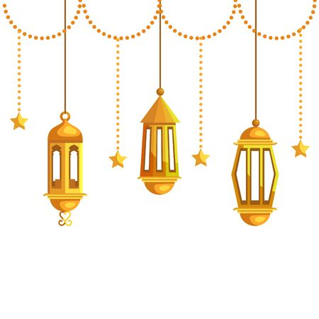 ramadan kareem lamps and stars hanging decoration vector illustration design Banque d'images - 129320646