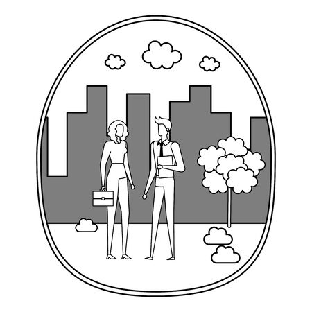 elegant young business couple on the city vector illustration design Фото со стока - 129262485