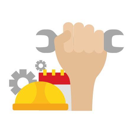 raised hand hard hat calendar gears labour day vector illustration