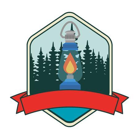 frame with camping zone with kerosene lantern vector illustration design