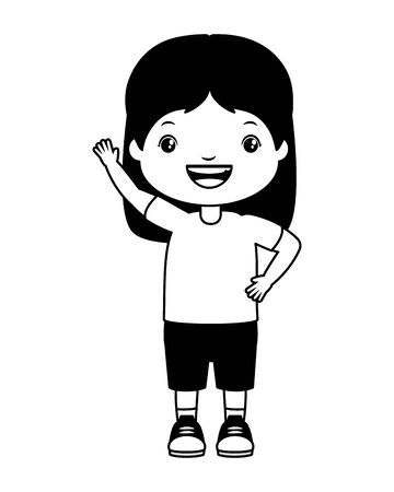 smiling girl waving hand on white background vector illustration Ilustracja