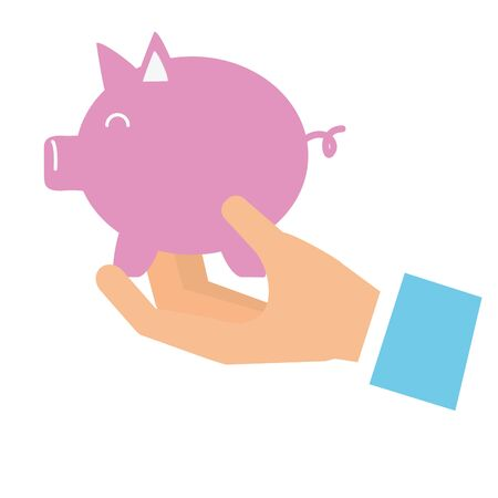 hand with piggy bank saving vector illustration 스톡 콘텐츠 - 129833858