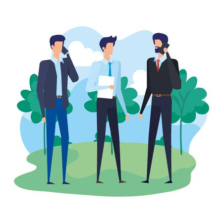 businessmen workers calling with cellphones in the camp vector illustration design