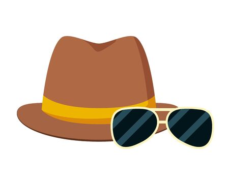 hipster hat and sunglasses vector illustration design