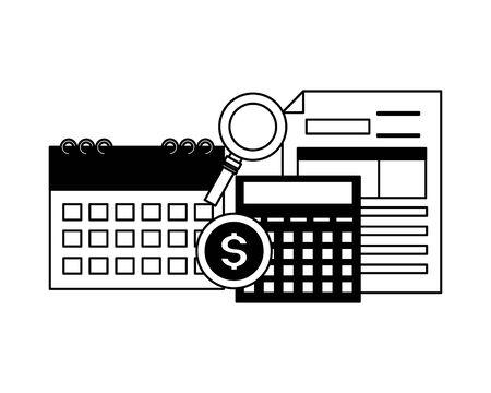 calculator calendar form analysis money tax time payment vector illustration Ilustrace