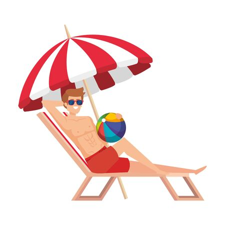 young man relaxing in beach chair with balloon toy vector illustration design