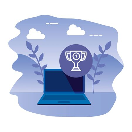 laptop computer with trophy cup vector illustration design