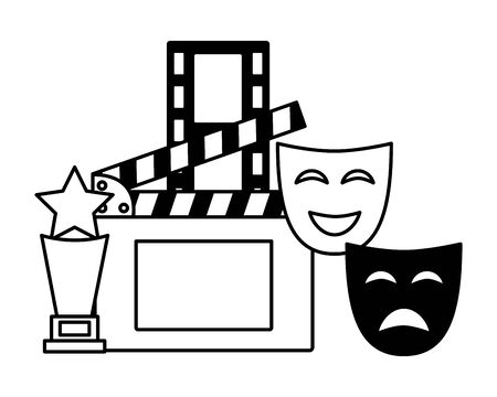 theater masks award clapboard filmstrip cinema movie vector illustration