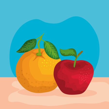 organic orange and apple fruits with leaves to healthy nutrition, vector illustration