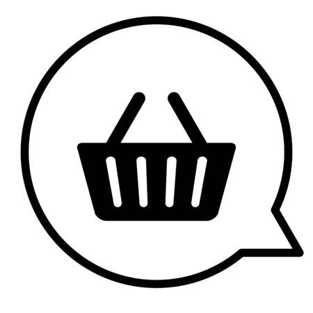 speech bubble with shopping basket vector illustration design Stockfoto - 129263580