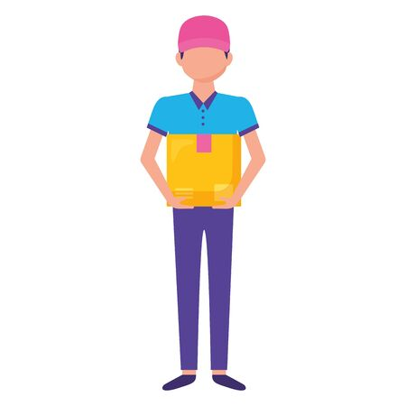 deliver man with cardboard box character vector illustration