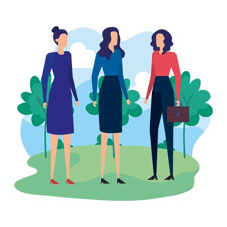 elegant businesswomen workers in the camp vector illustration design