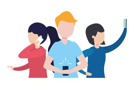 group of people with smartphone avatar character vector illustration design
