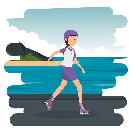 happy athletic girl in skates on the beach vector illustration design