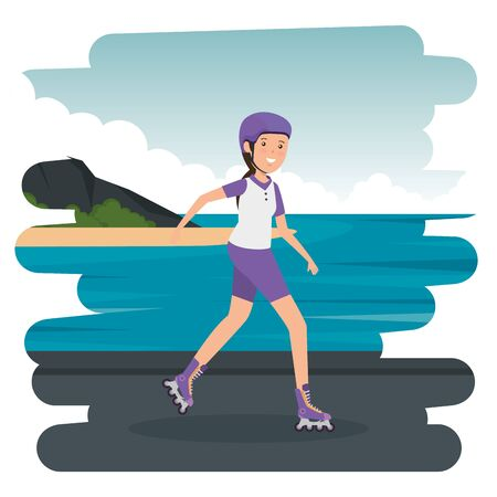 happy athletic girl in skates on the beach vector illustration design