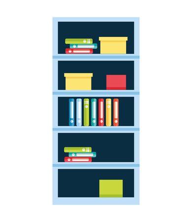bookshelf furniture books on white background vector illustration Stock fotó - 129263617