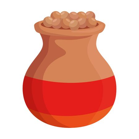 indian ceramic jar with food vector illustration design