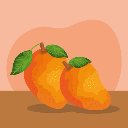 delicious mangoes fruits nutrition with leaves to healthy food, vector illustration Illustration