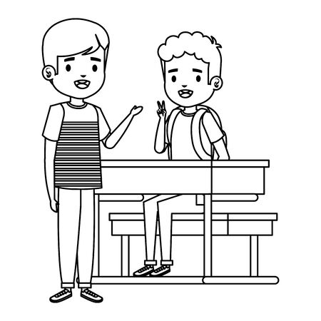happy little students boys seated in school desk vector illustration design Ilustracja
