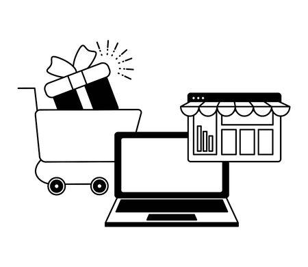 laptop online shopping cart gift website vector illustration