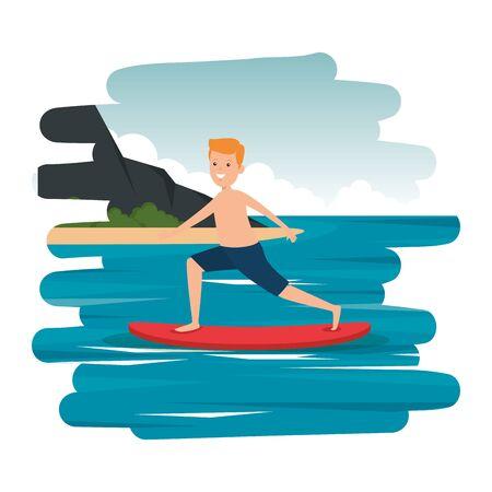 happy athletic boy practicing surf in the sea vector illustration design