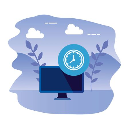 desktop computer device with time clock vector illustration design