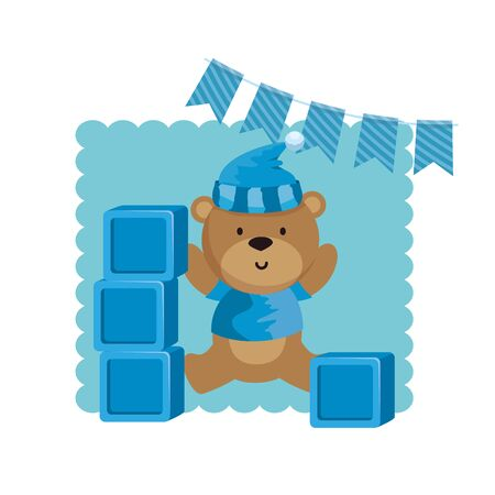 baby shower card with bear teddy and blocks vector illustration design
