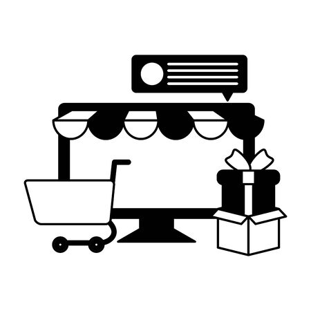 desktop computer with tent and shopping cart vector illustration desing