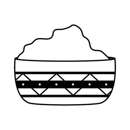 bowl with guacamole sauce fresh vector illustration
