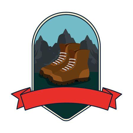 frame with camping zone and boots vector illustration design Ilustração