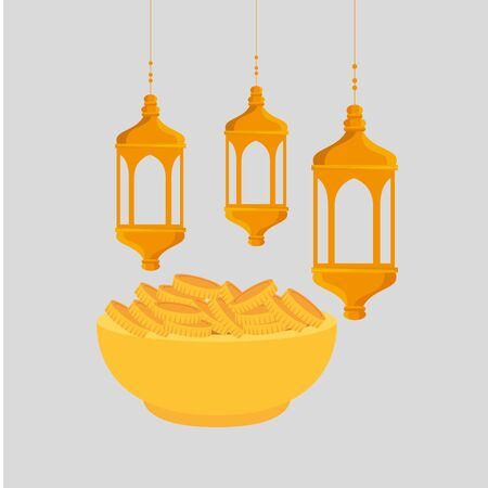 ramadan kareem lanterns with dish and coins vector illustration design Stock Illustratie
