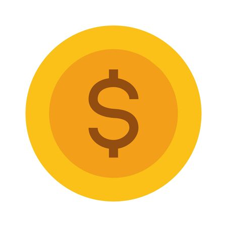 dollar coin money on white background vector illustration Foto de archivo - 129834097
