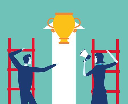 businessman and woman climb ladders trophy speaker business success vector illustration