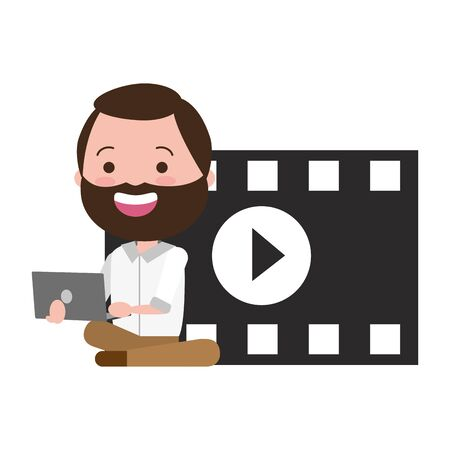 man with movie objects avatar character vector illustration design