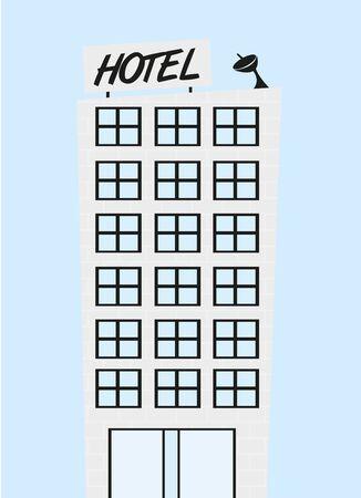 cute hotel cartoon over blue background. vector 일러스트