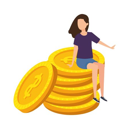 young woman seated in coins cash money dollars vector illustration design