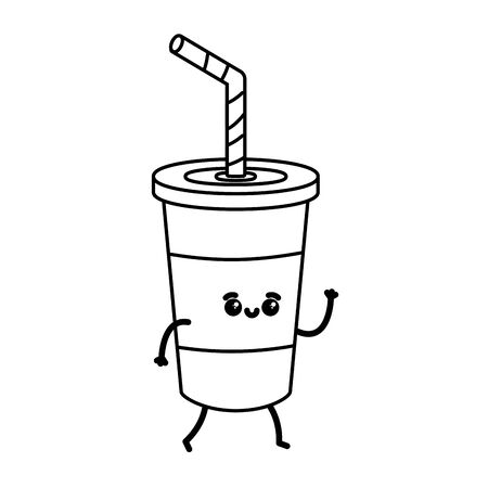 kawaii cartoon soda cup character vector illustration Illusztráció