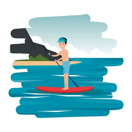 happy athletic boy practicing surf in the sea vector illustration design