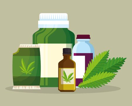cannabis plant bag seeds with oil crystal bottles vector illustration Stock Vector - 129357484