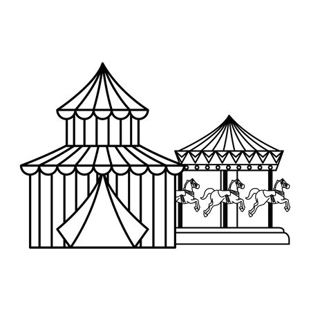 circus tent carnival with carousel vector illustration design 免版税图像 - 129357493