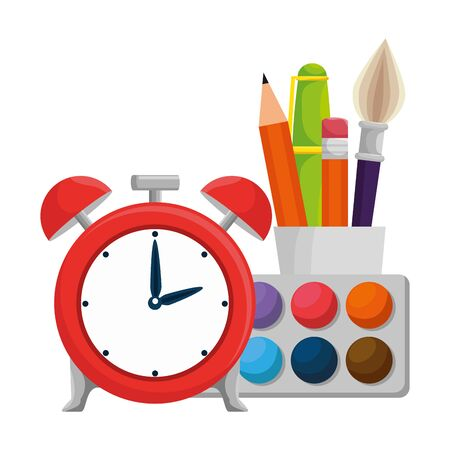 alarm clock with school supplies vector illustration design Illustration