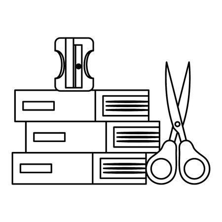 pile textbooks and scissors and sharpener vector illustration design
