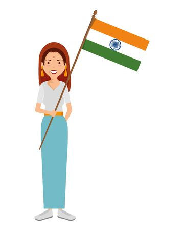 beautiful woman from india with flag vector illustration design